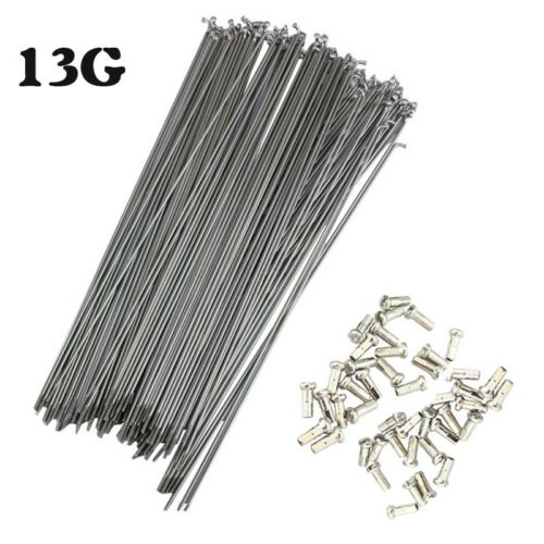 13G 2.2mm Bicycle Spokes Nipples MTB Bike 82-305mm Silver J-bend Durable Spoke