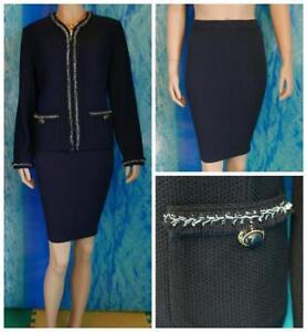 St. John Knit Collection Navy Blue Jacket Skirt L 10 2pc Suit Cream Fringe Trims