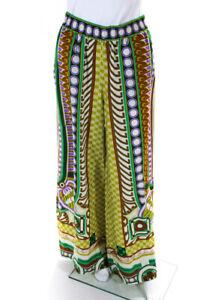 La-Double-J-Womens-Satin-Patterned-Wide-Leg-Causal-Pants-Green-Size-XL