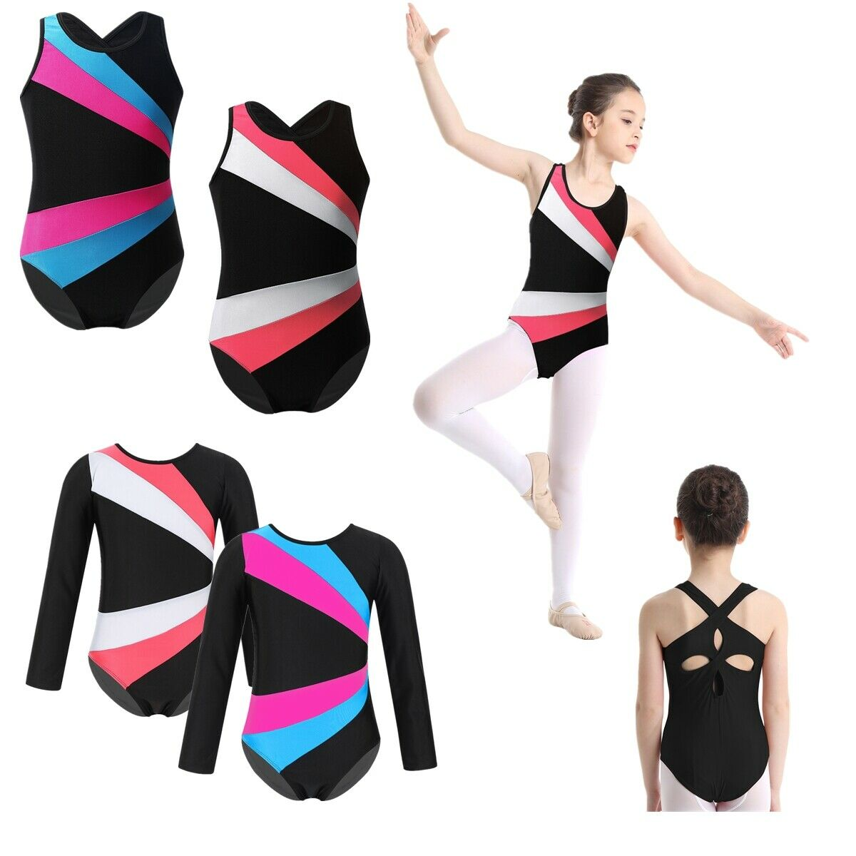 Kid Girl Gymnastics Leotard Ballet Sleeveless Dancewear Sports Jumpsuits Costume