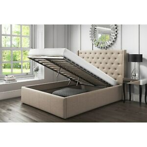Enjoyable Details About 6Ft Super King Size Linen Fabric Ottoman Bed Frame Lift Up Bed Grey Slate Theyellowbook Wood Chair Design Ideas Theyellowbookinfo