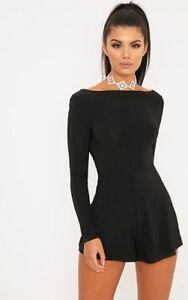 hot-selling 2019 factory price outstanding features Details about PrettyLittleThing Long Sleeve Kym Slinky Cowl Back Playsuit  10 BNWT £18.99 Black