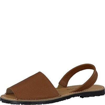 Tamaris Womens 28916 Tan Brown Leather Flexible Peep Toe Slingback Sandals Sale   eBay