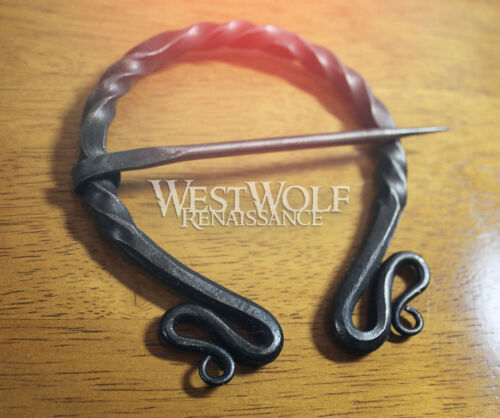 Hand-Forged Twisted Black Steel Brooch XL Grand Pennanular Cloak Pin Viking