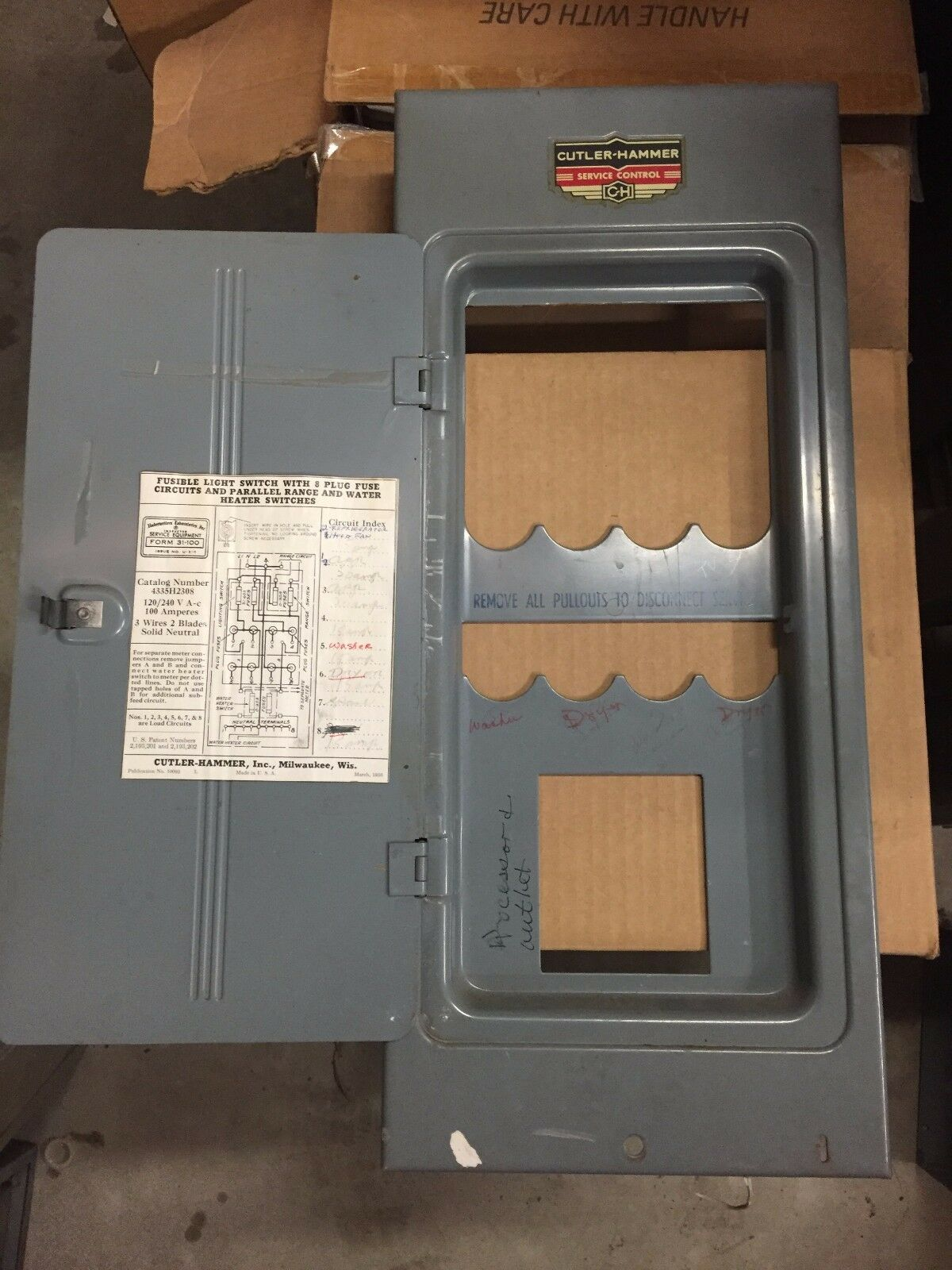 Cutler Hammer Cat No 4335h2308 Fuse Panel Cover Door Ebay Box Norton Secured Powered By Verisign