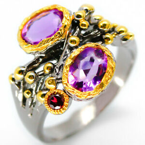Gift-for-lover-jewelry-Natural-Amethyst-7x5mm-925-Sterling-Silver-Ring-RVS23