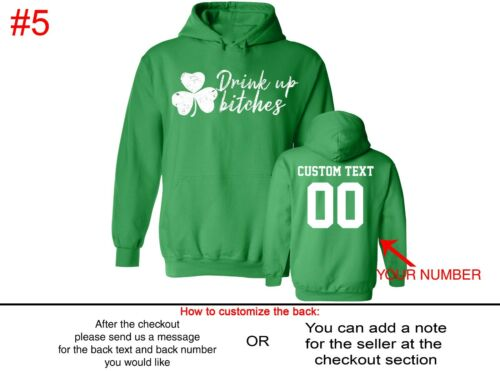 Patricks Day Pullover Hoodie Customized Text Name Number St Patty Sweater St