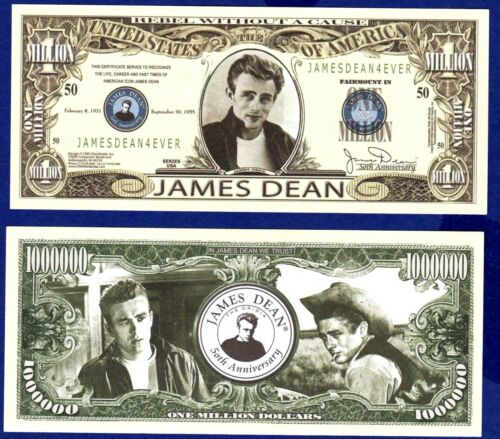 James Dean Million Dollar Bill 1 NOVELTY Collectible FAKE-ITEM G