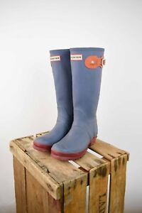 Hunter Wellington Boots in GREY/ MULTI. Size UK 4/EU 36.5/US 6