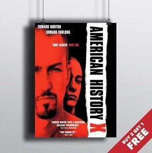 AMERICAN HISTORY X 1998 MOVIE POSTER A3 A4 Classic Drama Film Cinema Print