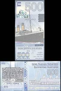 UNC /> Hindenburg 2012 New Jason Islands POLYMER 5 x 100 Australes LOT