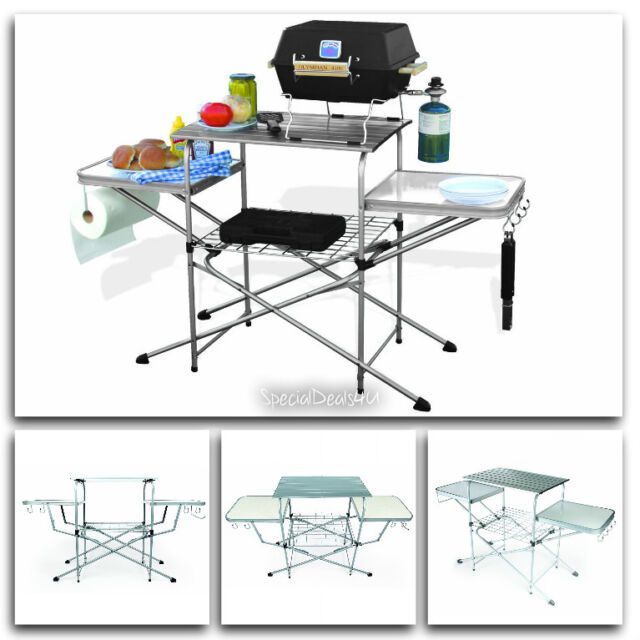 Portable Folding Camp Kitchen Sink Table Outdoor RV Camping Cooking ...