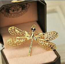Gold Plated Black Crystal Eye Dragonfly Pendant Necklace Sweater Chain Jewelry