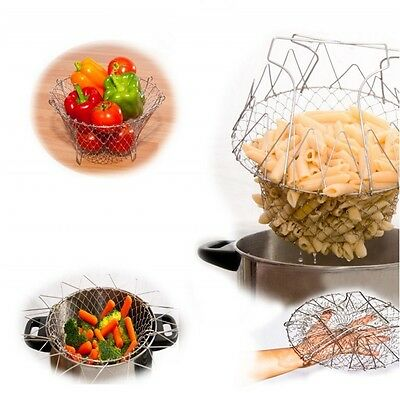 Creative Foldable Chef Strain Frying Basket Strainer Washable Kitchen Tool