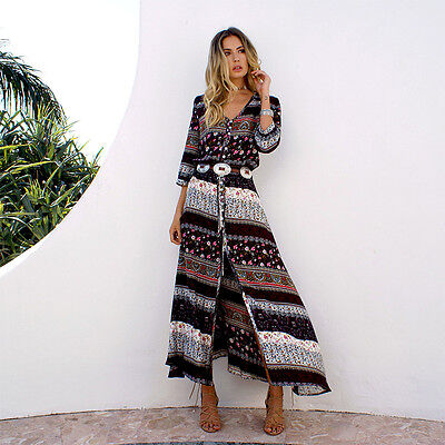 Women Boho Floral Maxi Dress Holiday Beach Off Shoulder Sundress Party Clubwear