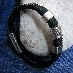 Bracciale-uomo-in-cuoio-pelle-chiusura-magnete-braccialetto-intrecciato-metallo