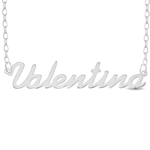 Valentina Name Plate Necklace Pendent Sterling Silver Personalized Custom