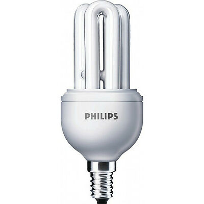 PHILIPS 11w GENIE E 14 WARM WHITE CFL ENERGY SAVER LAMP SET OF 2 pcs