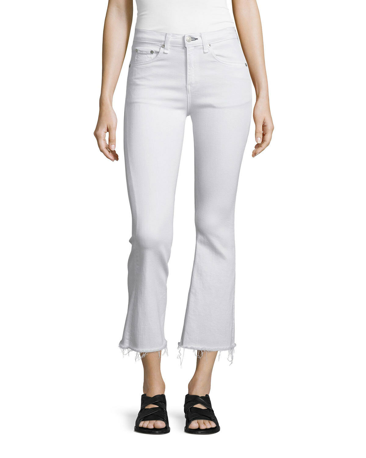 Rag & bone Women's White Crop Straight Legl Jeans