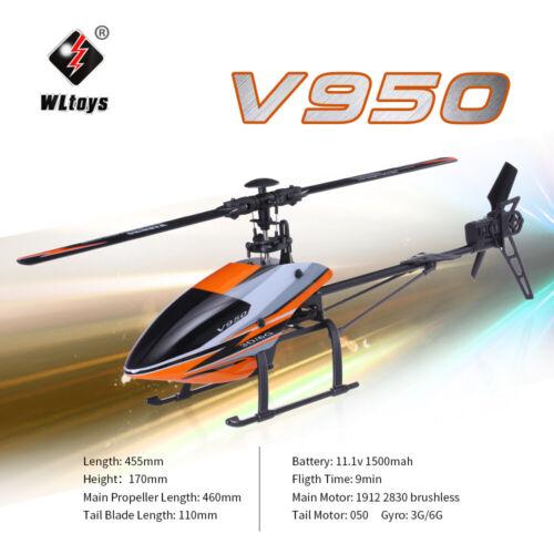 Original WLtoys V950 2.4G 6CH 3D 6G System Brushless Flybarless RC Helicopter