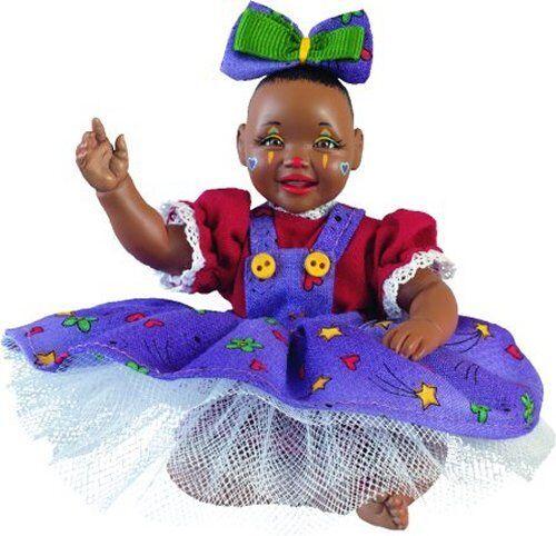 Clown Gggls New Porcelain Afro African American Brown Black Dark Baby Girl Doll