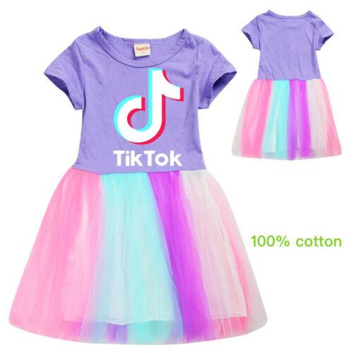 Tik Tok Rainbow Dress Kids Girls Mesh Fancy Dance Summer Party Costumes Age 3-12