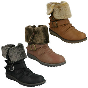 WOMENS-LADIES-LOW-WEDGE-ZIP-UP-CASUAL-FUR-FOLDOVER-ANKLE-BOOTS-SPOT-ON-F50274