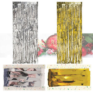 TINSEL-SHIMMER-FOIL-DOOR-CURTAIN-BIRTHDAY-PARTY-DECORATION-GOLD-SILVER-CHRISTMAS