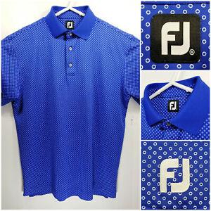 FootJoy-FJ-Mens-XL-Golf-Shirt-Polo-Blue-White-Circles-Polyester