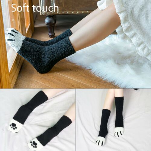 Cat Claw Paw Socks Cute Lovely Soft Warm Sleep Floor Ankle Coral Home Girl Women