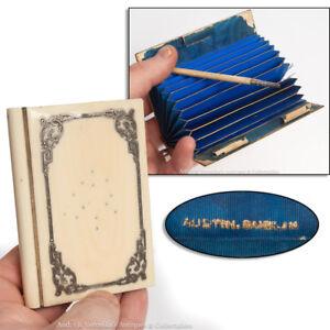 Victorian-Calling-Card-Case-AUSTIN-DUBLIN-Camel-Bone-amp-Silver-Inlay-Irish