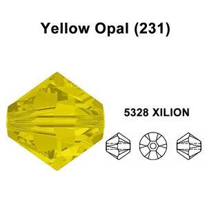 YELLOW-OPAL-231-Genuine-Swarovski-5328-XILION-Bicone-Beads-All-Sizes