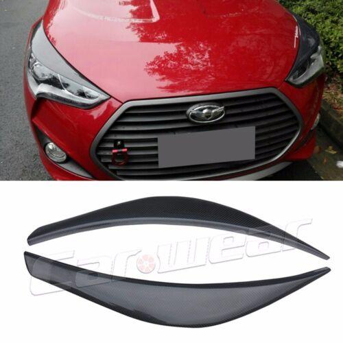 Real Carbon Fiber Headlight Eye Line Garnish For Hyundai Veloster 2011~2015