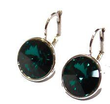 Swarovski Elements Emerald Green Bella Earrings Silver Plated Dangle Earrings