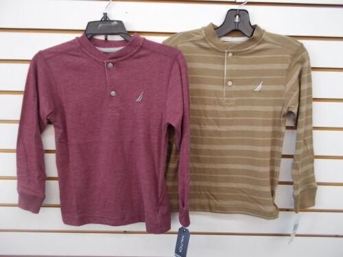 Boys Nautica $34.50 Burgundy or Tan Striped Long Sleeved T-Shirts Size 5//6-7X