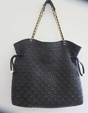 TORY BURCH MARION Black Quilted Leather Chain Handle Tote Bag A+++