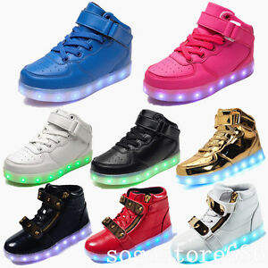 Details About 7 Colors Boys Girls Kids Usb High Top Led Light Up Shoes Luminous Sneakers Shoes