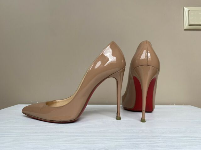 $1000 Christian Louboutin Nude Patent Leather Pigalle 120