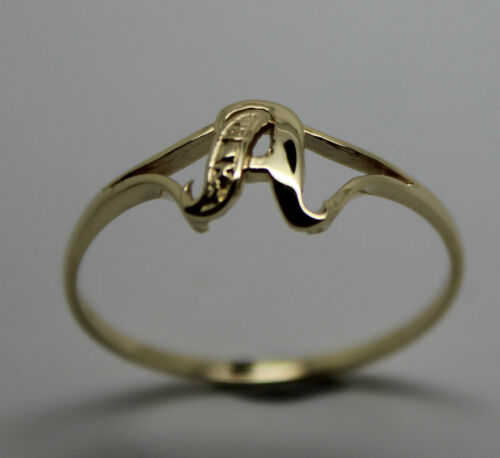 KAEDESIGNS GENUINE SOLID YELLOW OR ROSE OR WHITE GOLD 375 INITIAL RING  A