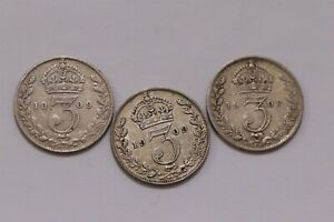 UK-GB-3-PENCE-1908-1908-amp-1909-3-COINS-LOT-EDWARD-VII-B29-CC45