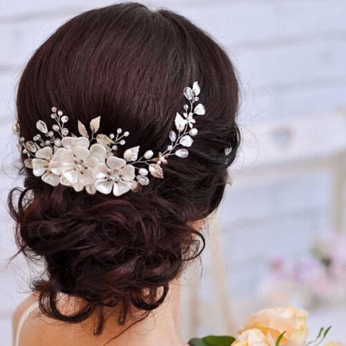 Women bridal white flower rhinestone pearl hair clip wedding hair accessories UK