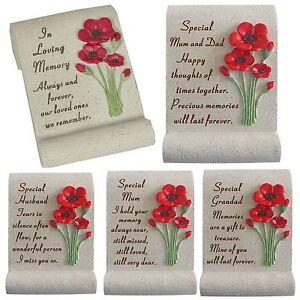 Memorial Poppy Flower Rock Scroll Resin Verse Plaque Graveside