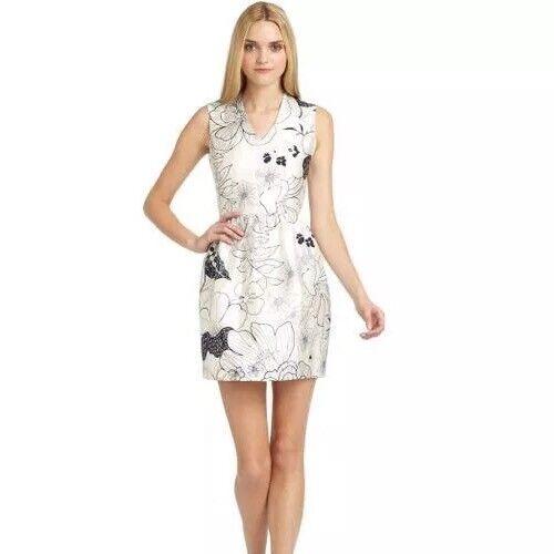 NWOT RAOUL Anthropologie Silk Weiß & Navy Floral Print Dress Größe 0 Retail