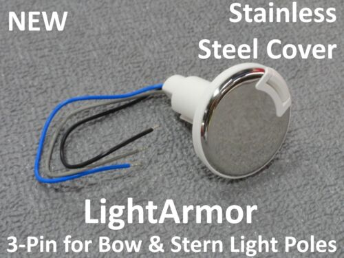 NEW Attwood Plug-In 3 Pin Base Bow Stern Pole Light Socket Stainless 910R3PSW-1