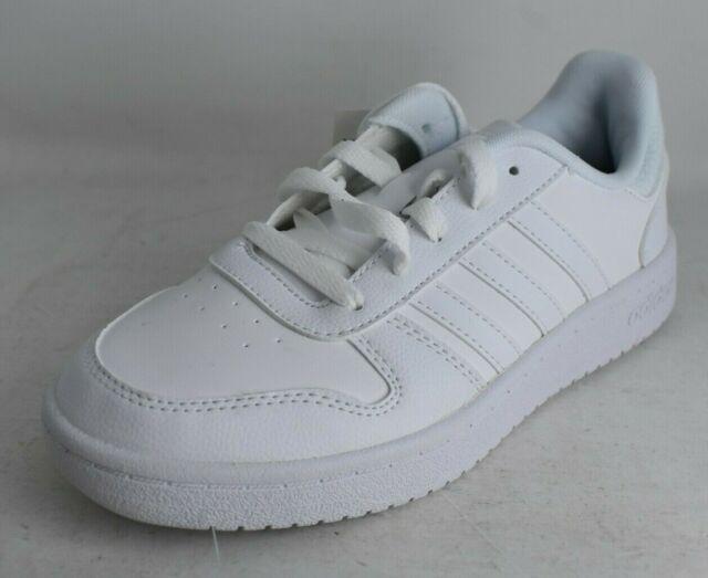 adidas Kids Size 5 White Hoops 2.0 K