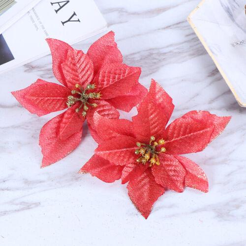 10pcs Artificial Flowers Christmas Tree Ornaments Wedding Party Decor Flower LI