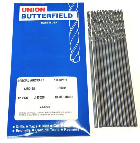 """Union Butterfield No.26 Aircraft Extension Drill Aviation 6/"""" 12 Pack USA"""