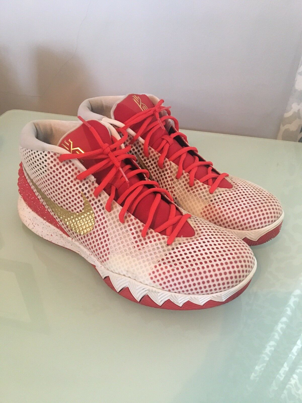 Nike Kyrie 1 ID White Red gold Sz 12.5