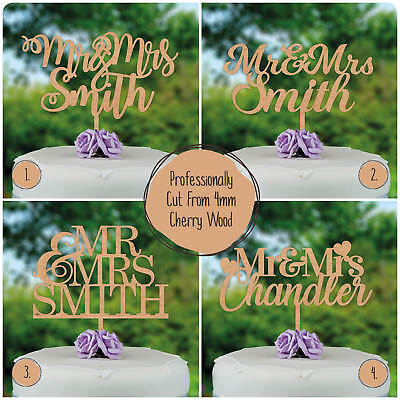 Wedding Cake Toppers Personalised Wooden Rustic Custom Mr Mrs Cake