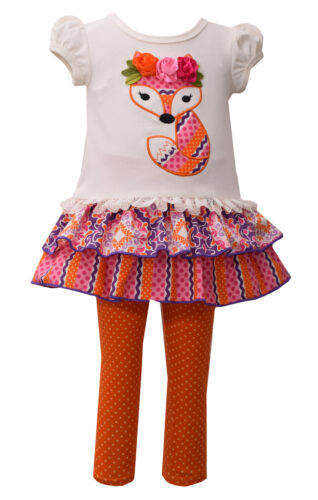 Bonnie Jean Girls Short Sleeve Fox Appliqued Outfit Leggings 2T 3T 4T New